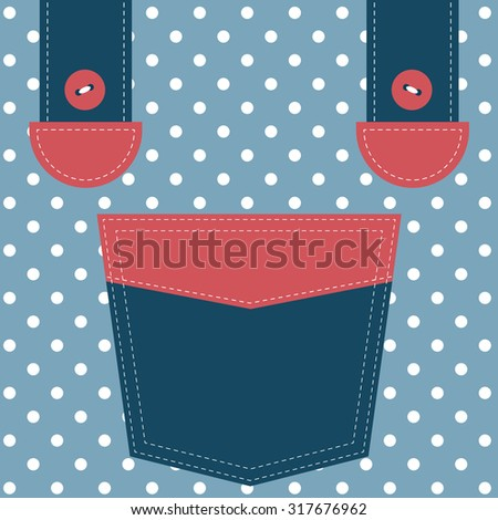 blue pocket and suspenders - stock vector