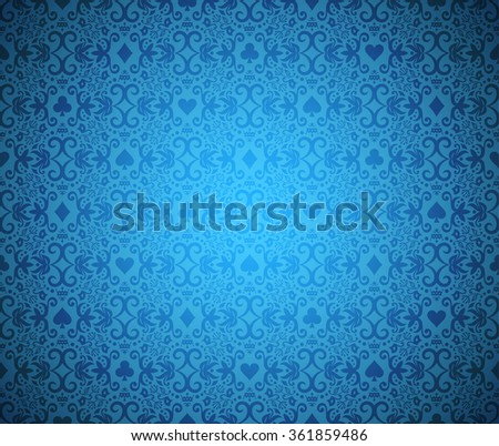 Blue poker background with dark damask pattern and cards symbols - stock vector