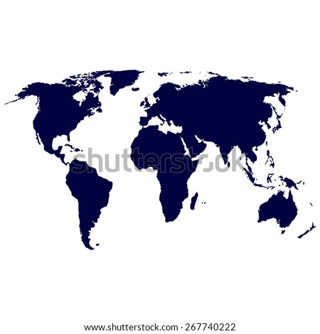 Blue Political World Map Illustration - stock vector