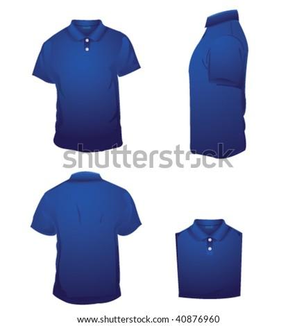 blue polo t shirt - stock vector
