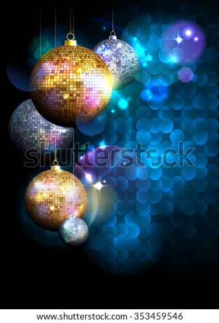 Blue polygon background with fur tree golden and silver mosaic balls with place for text.  - stock vector