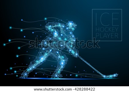Blue polygonal abstract ice hockey player. Blues players from futuristic shape. Thin line cybernetic style of sportsmens silhouette. Body energy low poly sports man in motion. - stock vector