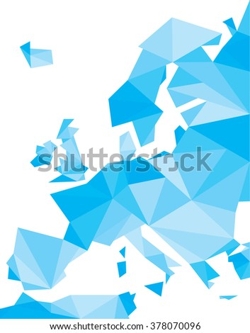 blue polygonal Europe vector map