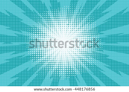 Blue pop art retro background with exploding rays of lightning comic style, vector illustration - stock vector