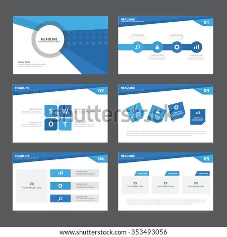 Blue presentation template Infographic elements flat design set for brochure flyer leaflet marketing advertising - stock vector