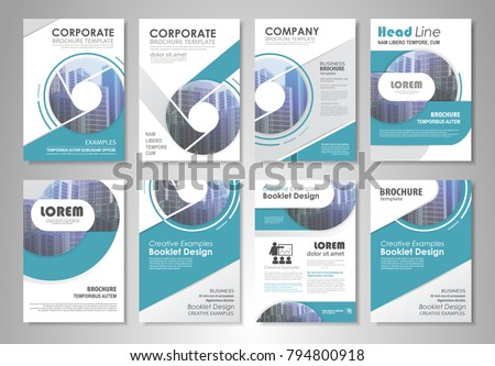 Blue presentation template set business annual stock photo photo blue presentation template set for business annual report corporate marketing corporate report creative flashek Images