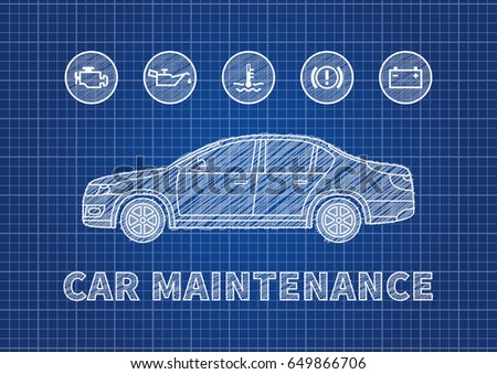 Blueprint car vector illustration eps 10 stock vector 253105021 blue print car maintenance vector illustration car technical service concept with warning signs check malvernweather Image collections