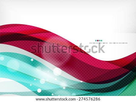 Blue purple design background, color wave template - stock vector