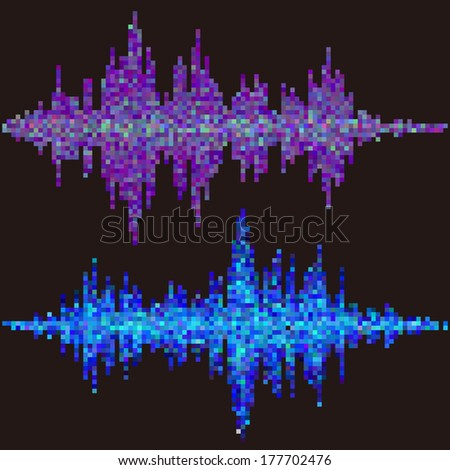 Blue & purple halftone square elements. Vector sound waves. Music rock waveform background. You can use in club, radio, pub, party, concerts, recitals or the audio technology advertising background.  - stock vector