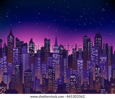 Blue-purple high detail vector background of a city sunset view composed of lots of illustrations of generic buildings and skyscrapers