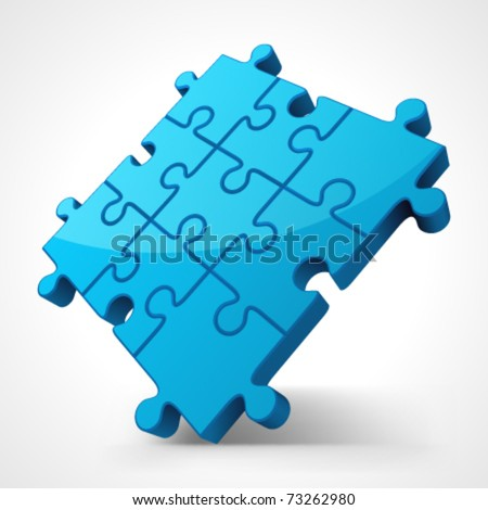 Blue puzzle 3d pie vector illustration. Eps 10. - stock vector