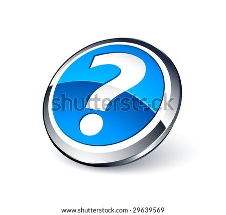 Blue question button - stock vector