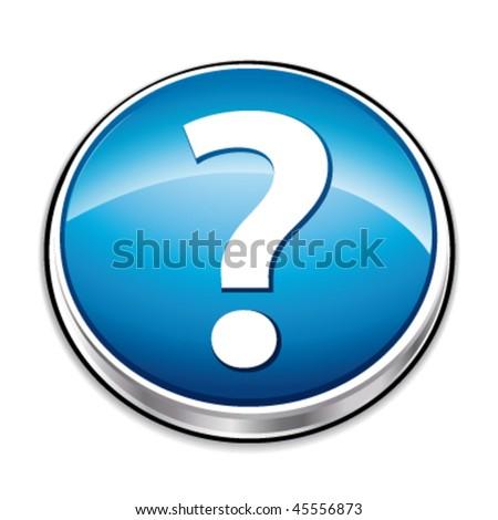 Blue question mark button. Vector illustration. - stock vector
