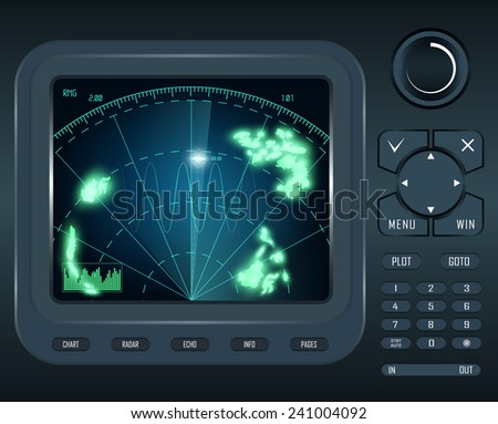 blue radar computer monitor  technology - stock vector