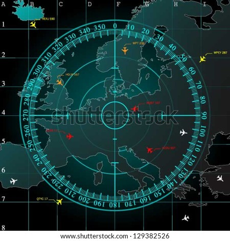Blue radar screen over square grid lines, and map of Europe territory with smooth light beneath, vector - stock vector