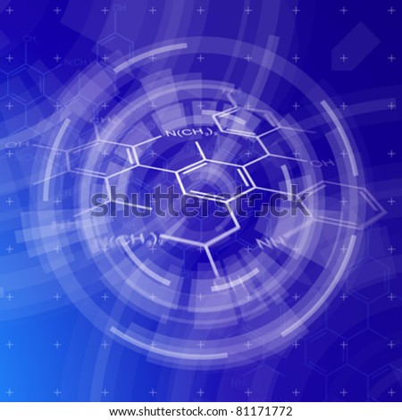 blue radial technology background & chemical formulas - stock vector