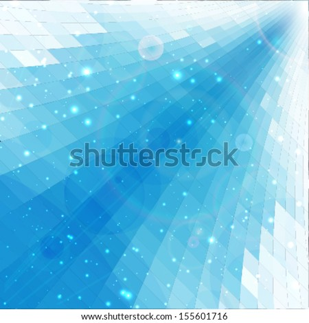 blue rays abstract mosaic perspective background - stock vector