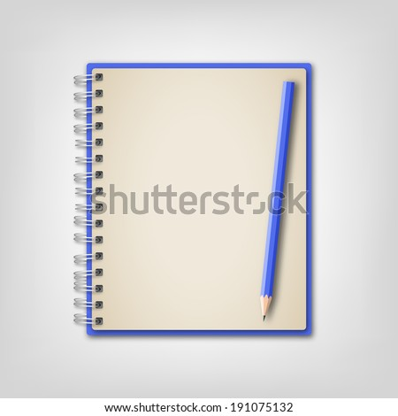 Blue Realistic Notebook and Pencil Vector - stock vector