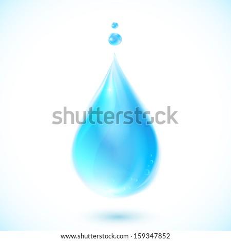 Blue realistic vector water drop - stock vector