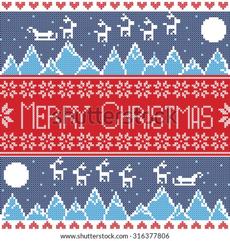 Blue, red and dark blue Scandinavian Merry xmas seamless nordic pattern with winter mountains view, reindeer, stars, snowflakes, hearts, sleigh, moon, snow In norwegian style cross stitch   - stock vector