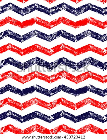 Blue red and white grunge chevron geometric seamless pattern, vector - stock vector
