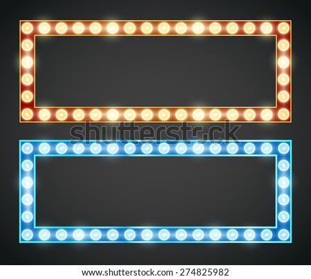Blue red gold colored vector retro looks frame template. Lamps lighted vector illustration - stock vector