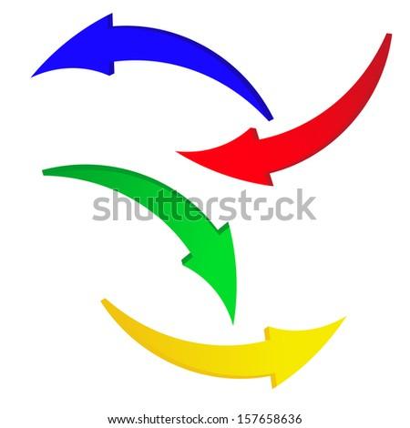 blue, red, green, yellow. arrow - stock vector