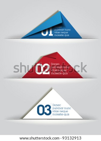 blue red white folded paper vector / card design / web design / - stock vector