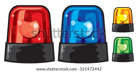 blue, red, yellow and green police siren (police lights) - stock vector