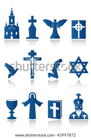 blue religion icons - stock vector