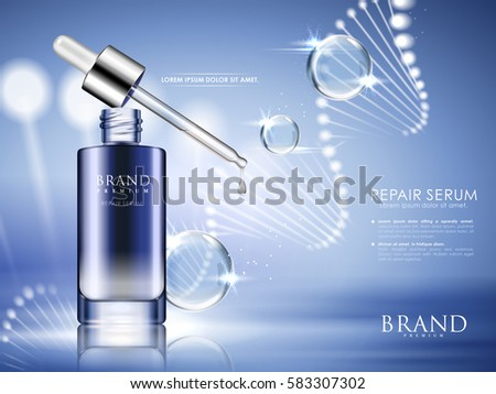 blue repair serum with helical structure and water drops, 3d illustration