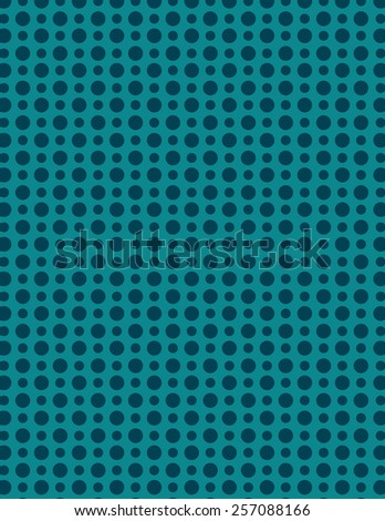 Blue repeating circle pattern with outline over green background - stock vector