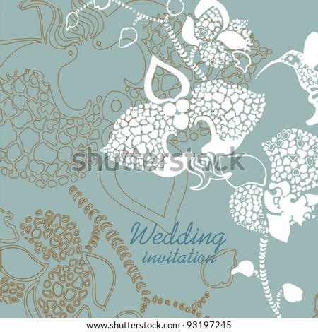 Blue retro card - stock vector