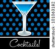 Blue retro cocktail card in vector format. - stock vector