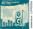 Blue Retro Party flyer - stock photo
