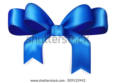 Blue ribbon and bow. Vector Illustration isolated on white background.