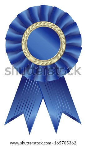 Blue ribbon award. Isolated on white background - vector illustration. - stock vector