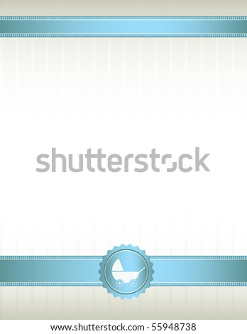 Blue ribbon baby stroller background - vector