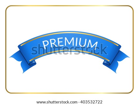 Blue ribbon banner. Sign blank for promotion, web, advertising text etc. Retro design decoration element. Flag stripe template. Symbol vintage label, isolated on white background. Vector illustration. - stock vector