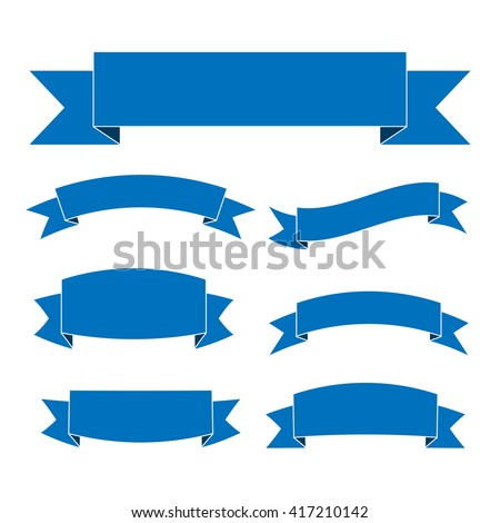 Blue ribbon banners set. Beautiful blank for decoration graphic. Old vintage style Flat design. Premium decorative elements isolated on white background. Template collection labels Vector illustration - stock vector