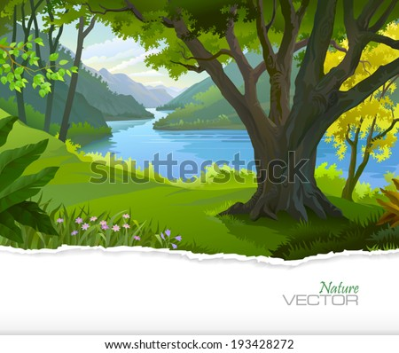 Blue river running through a green forest   - stock vector