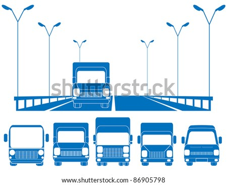 blue road with lantern, fence and set of trucks - stock vector