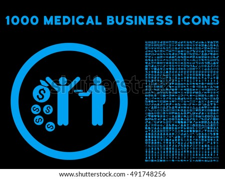 Blue Robbery vector rounded icon. Image style is a flat icon symbol inside a circle, black background. Bonus clip art has 1000 health care business pictograms.