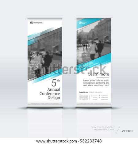 Blue Roll Banner Design Brochure Flyer Stock Vector