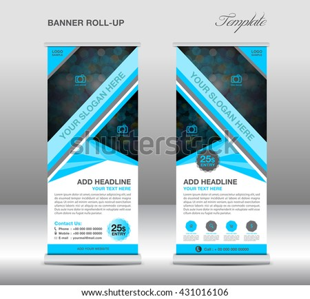 Blue Roll up banner stand template, advertisement design, polygon background, display, flyer - stock vector