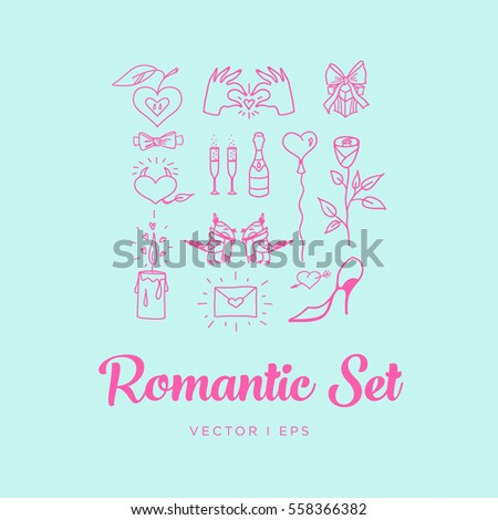 Blue Romantic St. Valentines Day Set. Contains images of couple of birds, rose, champagne with glasses, candle, balloon, gift, hands, envelope, bow tie, apple and heart. Inverted.