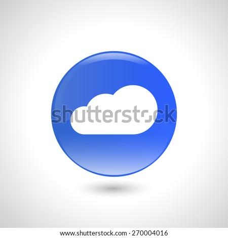 Blue round button with cloud icon for web design  - stock vector
