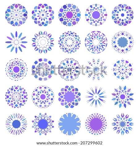 Blue round east ornament set. Vector symbols - stock vector