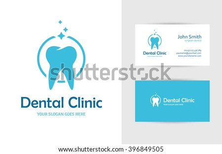 Blue round logo tooth business card stock photo photo vector blue round logo with tooth and business card design template for dental clinic dentist fbccfo Image collections