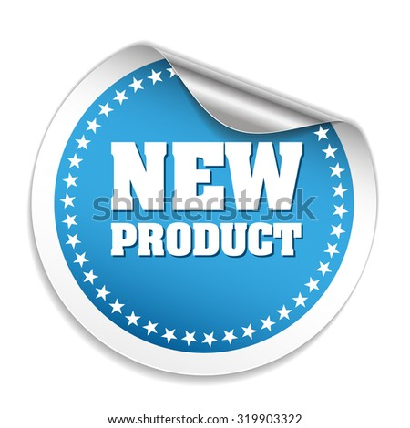 Blue Round New Product Sticker With Silver Peel On White Background - stock vector